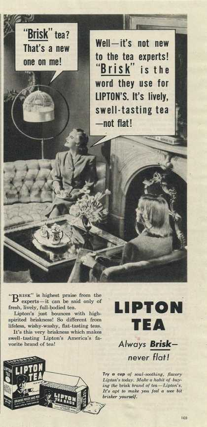 Lipton Tea Brisk Never Flat (1944)