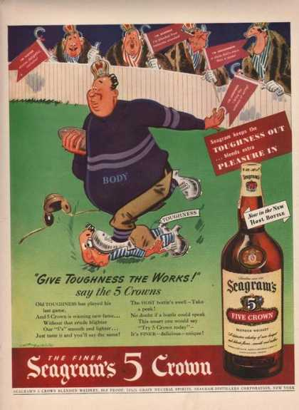 Seagrams 5 Crown Whiskey Toughness Out (1942)