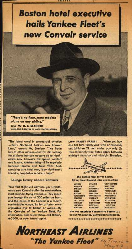 Northeast Airline's Convair Service – Boston hotel executive hails Yankee Fleet's new Convair service (1949)