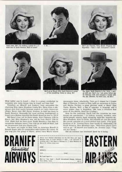 Jayne Meadows & Bill Dana, Braniff & Eastern (1962)