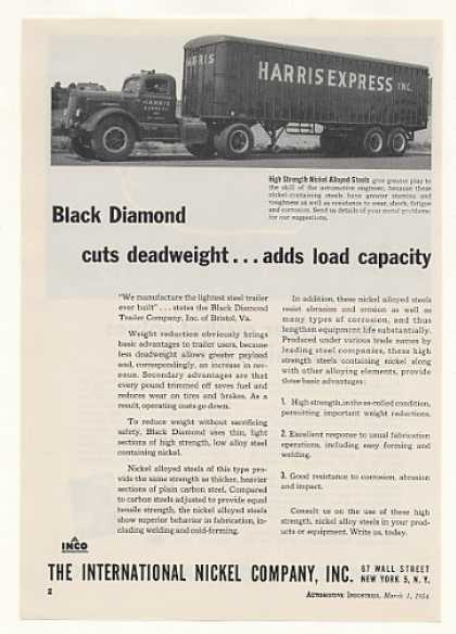 Harris Express Truck Black Diamond Trailer Inco (1954)