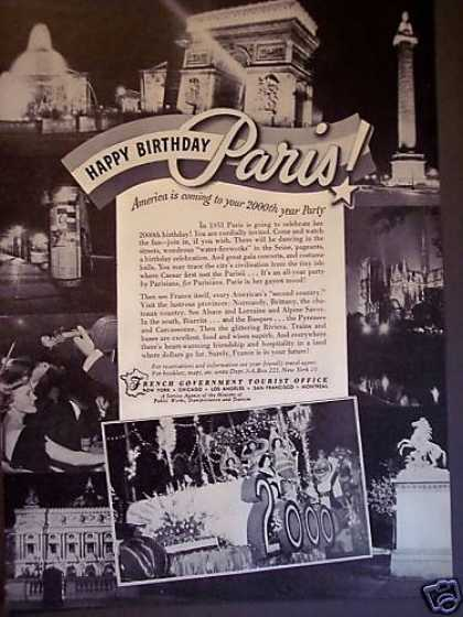 Happy 2000th Birthday Paris Vacation Travel (1951)
