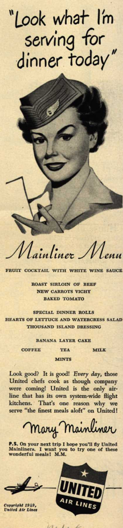 "United Air Line's Meals – ""Look what I'm serving for dinner today"" (1949)"