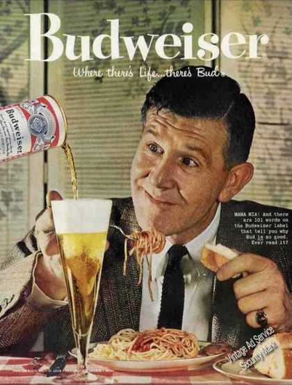 Budweiser Beer Mama Mia! Man Eating Spaghetti (1958)