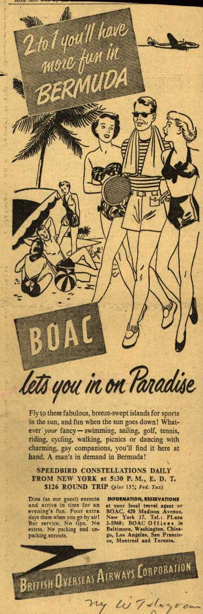 British Overseas Airways Corporation's Bermuda – 2 to 1 you'll have more fun in Bermuda (1949)