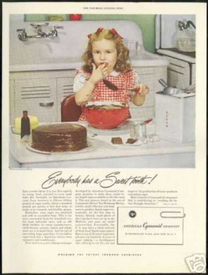 Cute Girl Baking Vintage Photo Cyanamid Co (1949)