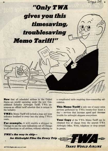 "Trans World Airline's Tariff Schedule – ""Only TWA gives you this timesaving, troublesaving Memo Tariff!"" (1947)"