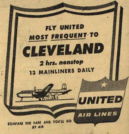 United Air Line's Cleveland – Fly United Most Frequent to Cleveland (1953)