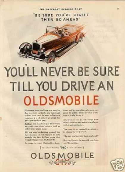 "Oldsmobile Six Car Ad ""You'll Never Be Sure... (1927)"