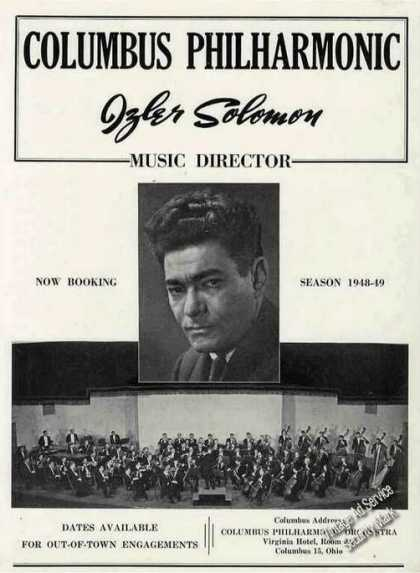 Columbus Philharmonic Izler Solomon Booking (1948)