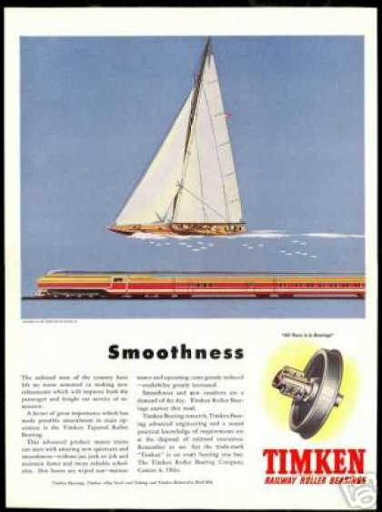 Train Sailboat Print Timken Roller Bearing (1946)