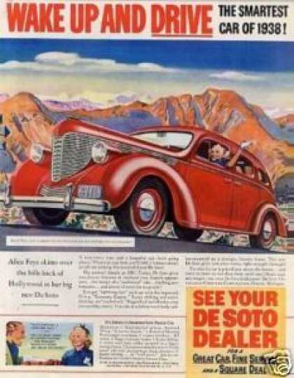 Desoto Car Color Ad Alice Faye (1938)