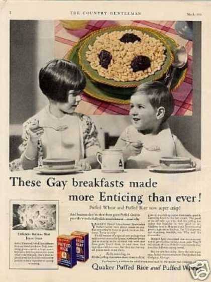 Quaker Puffed Rice & Wheat Cereal Color (1931)