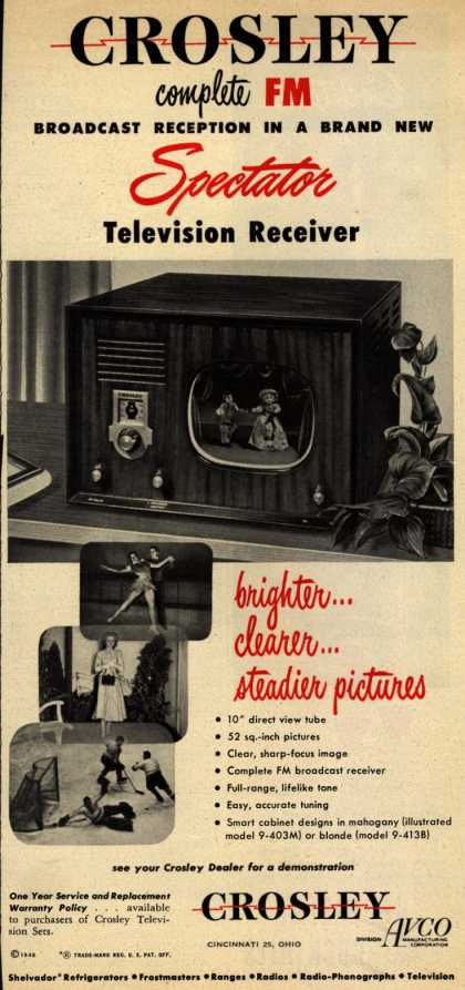 Crosley's Spectator Television Receiver – Crosley complete FM Broadcast Reception in a Brand New Spectator Television Receiver (1948)