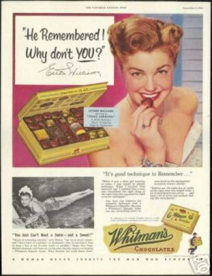 Esther Williams Photo Whitman's Chocolate (1951)