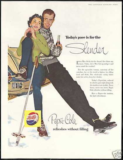 Snow Skiers Lace Boots Virgil Art Pepsi Cola (1956)