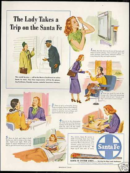 Santa Fe Train Railroad Lady Trip Vintage (1948)