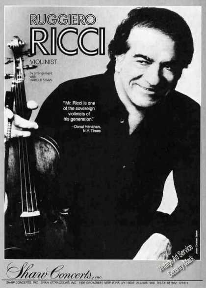 Ruggiero Ricci Photo Violinist Booking (1986)
