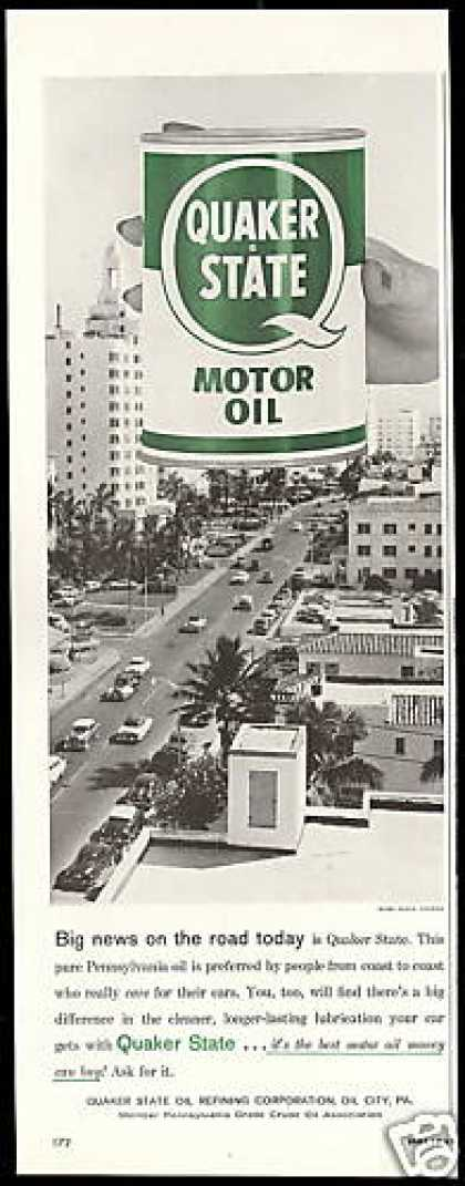 Quaker State Oil Miami Beach Florida State (1958)