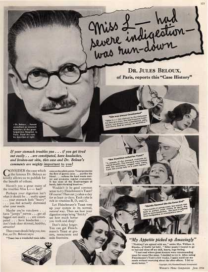 Standard Brand's Fleischmann's Yeast – Miss L_ had severe indigestion – was run-down (1934)