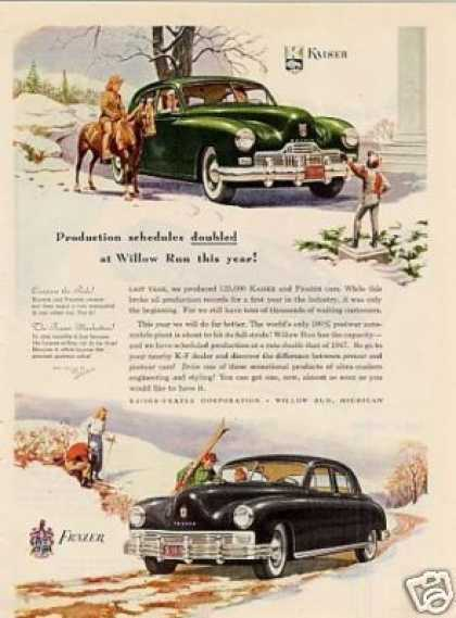 "Kaiser & Frazer Cars Ad ""Production Schedules... (1948)"