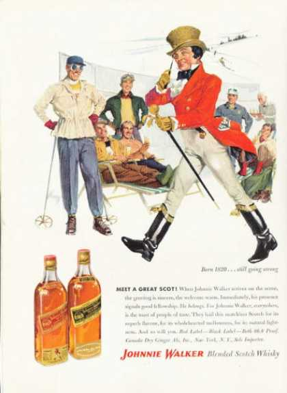 Johnnie Walker Scotch Whiskey Ad Snow Ski (1955)