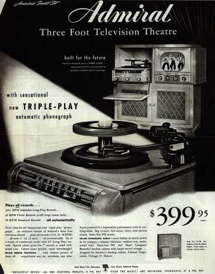 Admiral Corporation's Admiral Smart Set Television Combination – Admiral Three Foot Television Theatre. With Sensational New Triple-Play Automatic Phonograph. (1949)