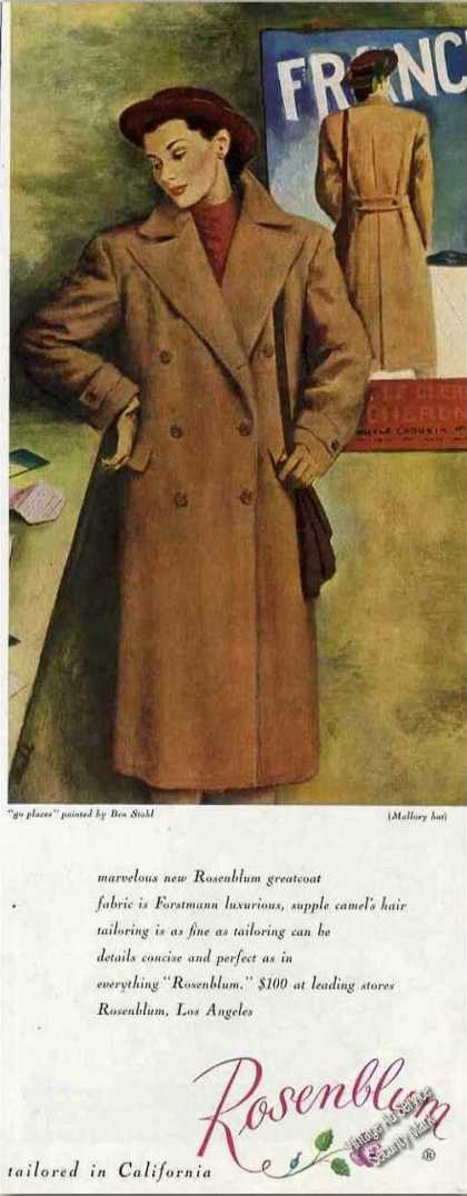 Rosenblum Greatcoat Fashion Ad Art By Ben Stahl (1947)
