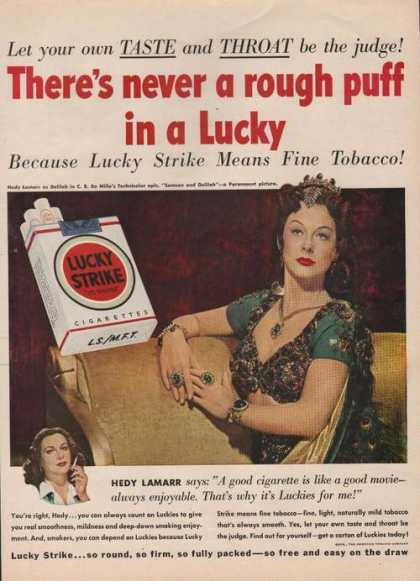 Lucky Strike Cigarettes Hedy Lamarr (1950)