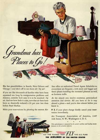 The Airlines of the United State's Air Travel – Grandma has Places to Go
