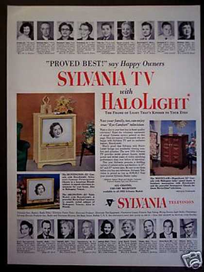 Sylvania Tv Halolight Television 3 Models (1953)