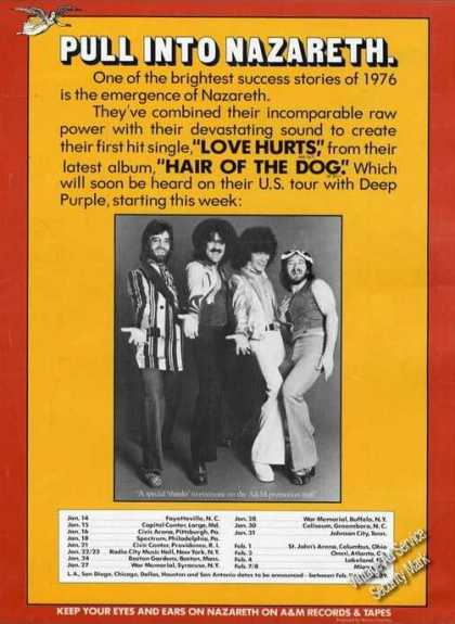 Nazareth Photo Ad Album Promo & Tour Schedule (1976)