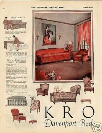 Kroehler Furniture Color Ad 2 Page (1926)