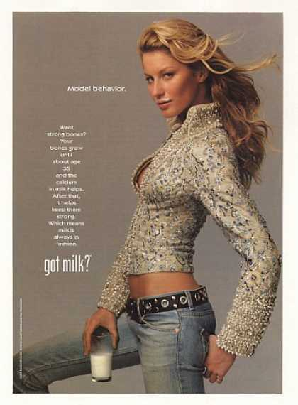 Model Gisele Bundchen Got Milk Mustache Photo (2001)