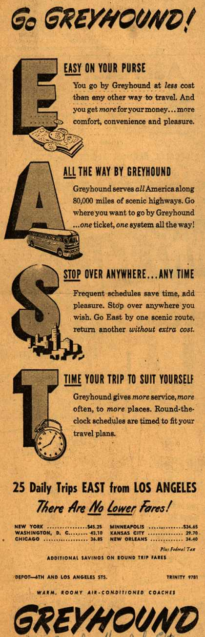 Greyhound's Eastern destinations – Go Greyhound! EAST (1948)