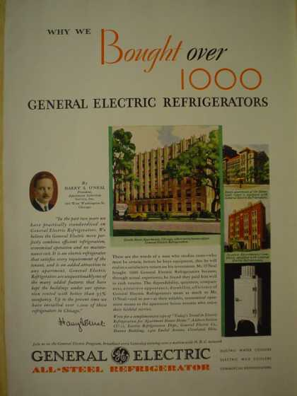 General Electric All steel Refrigerator. Why we bought over 1,000 Harry S Oneal (1930)