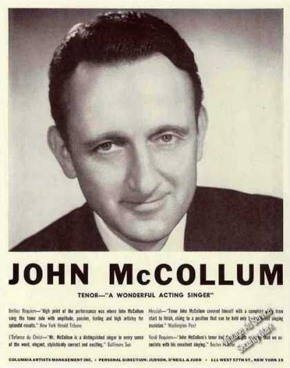 "John Mccollum Tenor ""A Wonderful Acting Singer"" (1960)"