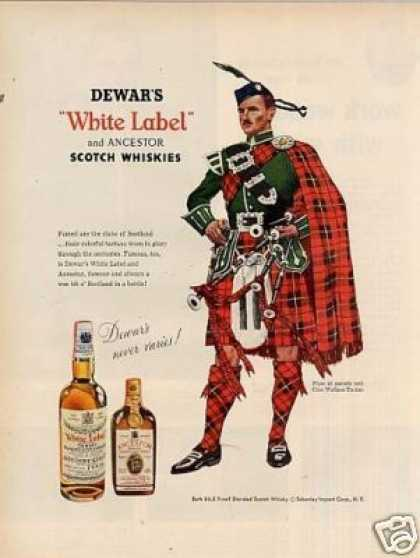 Dewar's Scotch Whisky Ad Clan Wallace Tartan (1956)