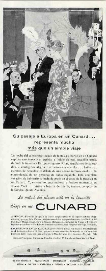 Cunard Ships To Europe Spanish Language (1960)