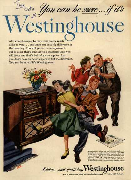 Westinghouse Electric Corporation's Radio-Phonograph – You can be sure...if it's Westinghouse (1948)