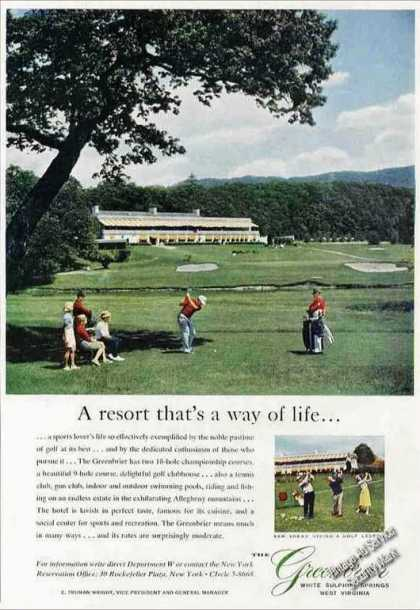 Greenbrier White Sulphur Springs Wv Golfcourse (1958)
