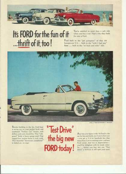 Test Drive Big New Ford Today (1950)