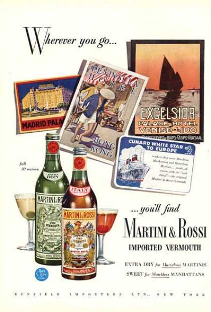 Martini & Rossi Imported Vermouth (1951)