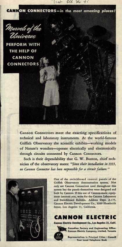 Cannon Electric Development Company's Electronics – Cannon Connectors – In the Most Amazing Places! Marvels of the Universe Perform With the Help of Cannon Connectors (1945)