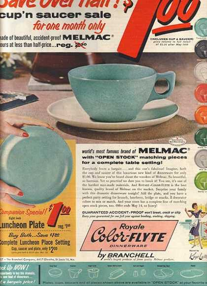 Branchell's Royale Color-Flyte Dinnerware (1957)