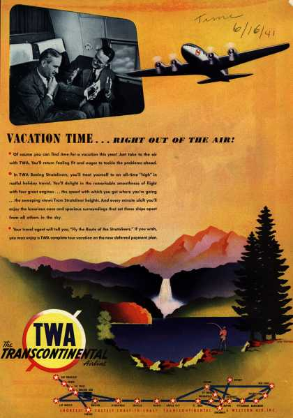 Transcontinental & Western Air's Stratoliners – Vacation Time... Right Out of the Air (1941)
