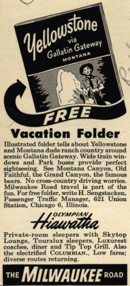 Milwaukee Road's Yellowstone – Free Vacation Folder (1950)