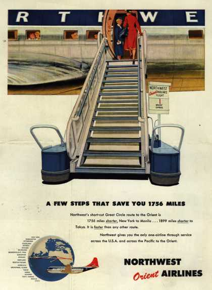 Northwest Airline's Great Circle Route – A FEW STEPS THAT SAVE YOU 1756 MILES (1954)