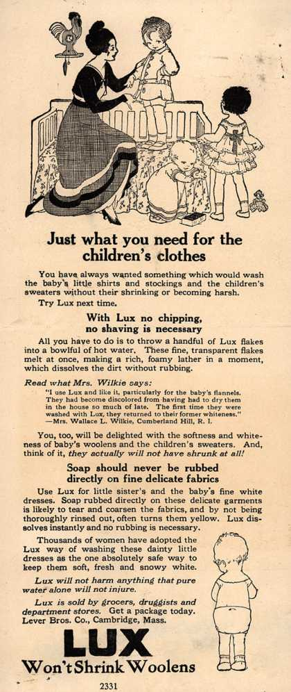 Lever Bros.'s Lux (laundry flakes) – Just what you need for the children's clothes (1917)