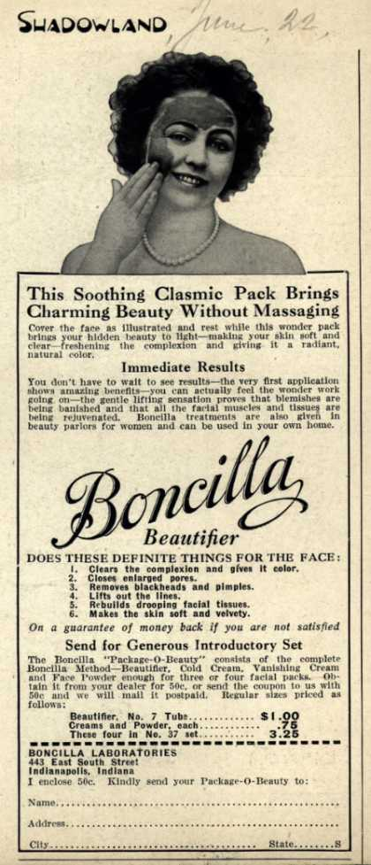 Boncilla Laboratorie's Boncilla Cosmetics – This Soothing Clasmic Pack Brings Charming Beauty Without Massaging (1922)